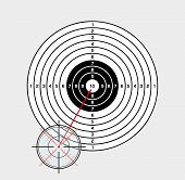 stock photo of crosshair  - crosshair and target on gray background vector - JPG