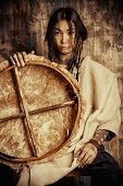 stock photo of reconstruction  - Art portrait of the American Indian - JPG