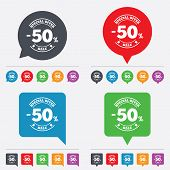 stock photo of 50s  - 50 percent discount sign icon - JPG