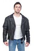 image of grease  - Portrait of a young man in a leather jacket and sunglasses isolated on white background - JPG