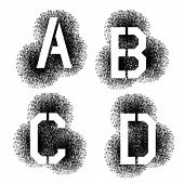 picture of letter b  - vector stencil angular spray font letters A B C D - JPG