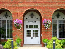 image of city hall  - The face of City Hall decorated for Spring - JPG
