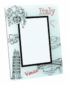 stock photo of home is where your heart is  - Beige photo frame with drawings of famous Italian objects - JPG