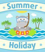 stock photo of hippopotamus  - Summer sea background card with funny hippopotamus - JPG