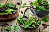 stock photo of wood pieces  - mix salad Romaine arugula spinach mizuna chard oak salad on a dark wood background - JPG