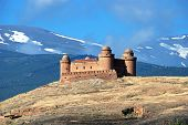 pic of snow capped mountains  - View of the castle  - JPG