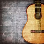 stock photo of guitar  - abstract grunge gray music background with acoustic guitar - JPG