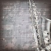 image of sax  - abstract grunge gray music background with saxophone - JPG