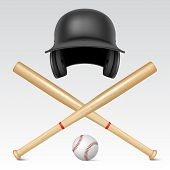 picture of baseball bat  - Set of realistic baseball equipment  - JPG