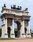 stock photo of bonaparte  - Arch of Peace in Sempione Park Milan Lombardy Italy