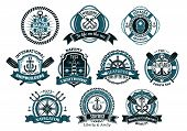 picture of roping  - Creative seafarers or nautical logos and banners with rope - JPG