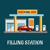 pic of gasoline station  - Family car refueling with gasoline at a filling station - JPG