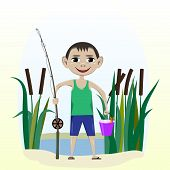 stock photo of fish pond  - Vector illustration a boy with a fishing pole and fish near the pond with reeds - JPG