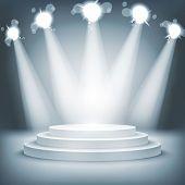 pic of stage decoration  - Illuminated stage podium for award ceremony vector illustration art - JPG
