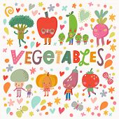 Постер, плакат: Lovely healthy food concept card with fresh vegetables in vector Tasty mushrooms bell pepper pump