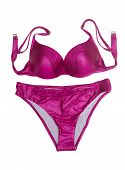 stock photo of white satin lingerie  - Purple satin lingerie set bra and panties - JPG