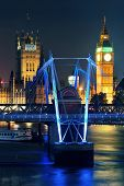 image of westminster bridge  - Westminster Palace and bridge over Thames River in London at night - JPG
