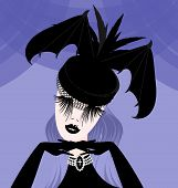 stock photo of mummer  - abstract gothic womans head and the black hat with wings - JPG