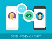stock photo of transfer  - Transferring money to friends via chat messager - JPG