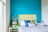 foto of violets  - Modern blue bedroom interior with blue - JPG