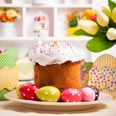 picture of easter decoration  - Easter cake with eggs on the table - JPG