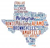 foto of texas  - Word cloud shaped like Texas with the names of cities found in Texas - JPG