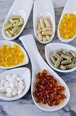 picture of primrose  - Variety of dietary supplements including capsules of Garlic Evening Primrose Oil - JPG