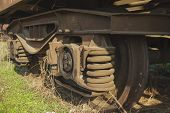 foto of caboose  - old abandoned train at the suny day - JPG