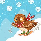 pic of snow owl  - Childish Merry Christmas card with cartoon owl in vector - JPG