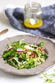 stock photo of rocket salad  - Ouinoa with Asparagus Rocket and Feta salad - JPG
