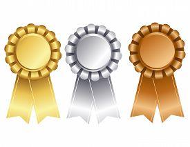 foto of gold medal  - Elegant award ribbon  - JPG