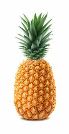 picture of packages  - Whole single pineapple isolated on white background as package design element - JPG