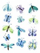 picture of moth  - Watercolor set of blue and green moths - JPG