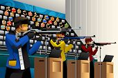 foto of rifle  - A vector illustration of people shooting with rifle at a target in the competition for sport competition series - JPG