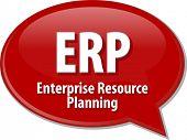 image of enterprise  - Speech bubble illustration of information technology acronym abbreviation term definition ERP Enterprise Resource Planning - JPG