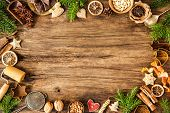 image of christmas spices  - Baking concept background with spices and utensils for Christmas cookies - JPG