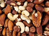 pic of hazelnut  - Natural background texture made from mixed kinds of nuts  - JPG