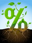 picture of bine  - Stylized plant in shape of percent sign in ground - JPG