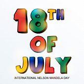 picture of nelson mandela  - illustration of colorful shiny text for International Nelson Mandela Day - JPG