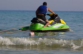 picture of waverunner  - Young Man on Jet Ski - JPG
