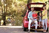 Family with kids sitting in car trunk poster