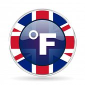fahrenheit british design icon - round silver metallic border button with Great Britain flag poster