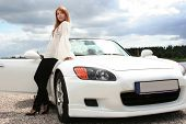 stock photo of luxury cars  - beautiful young woman with white luxury car - JPG