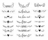 Handdrawn Borders Set With Hearts, Crown, Wings For Valentines Day And Wedding Greeting Cards, Poste poster