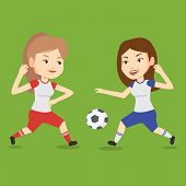 Постер, плакат: Football players in action during a champions league match Two female soccer players fighting over