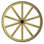 image of wagon wheel  - Old wooden wheel - JPG