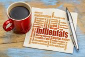 millenials word cloud on a napkin a cup of coffee - demography concept poster