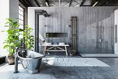 Stark gray bathroom interior of a converted industrial loft with a hipster metal roll top bathtub an poster
