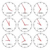 vector clock faces - timezones