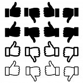 vector thumbs up set